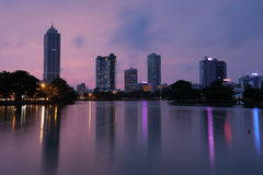 Skyline of Colombo in Sri Lanka at night Royalty Free Stock Photography