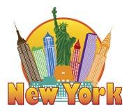 Skyline colorida de New York City no vetor IL do círculo ilustração stock