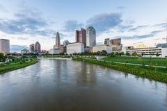 Skyline of Columbus, Ohio from Bicentennial Park bridge at Night Stock Photos