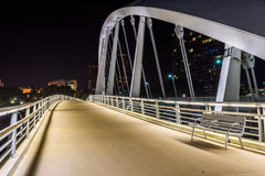 Skyline of Columbus, Ohio from Bicentennial Park bridge at Night royalty free stock image