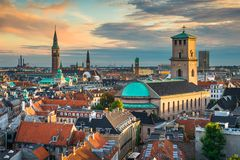 Skyline of Copenhagen, Denmark. Sunset skyline of Copenhagen, Denmark Stock Photos