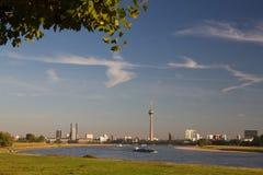Skyline Düsseldorf. During golden hour Royalty Free Stock Photography