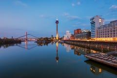 Skyline of Düsseldorf Germany at Sunset stock photography