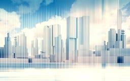 Skyline da arquitetura da cidade, céu dramático, quadro 3d do fio ilustração royalty free