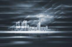 skyline da arquitetura da cidade 3d e céu dramático escuro ilustração stock