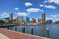 Skyline da baixa do porto interno de Baltimore Maryland Fotos de Stock Royalty Free
