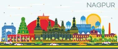 Skyline da cidade da Índia de Nagpur com construções da cor e o céu azul ilustração royalty free