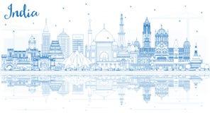 Skyline da cidade da Índia do esboço com construções azuis ilustração royalty free