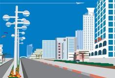 Skyline da cidade azul ilustração do vetor