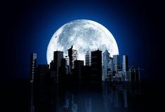 Skyline da cidade com lua ilustração stock