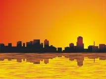 Skyline da cidade da noite Fotos de Stock Royalty Free