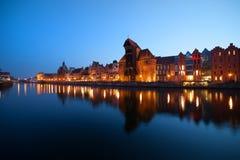 Skyline da cidade da noite de Gdansk Imagem de Stock