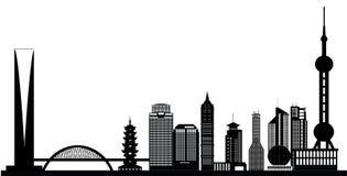 Skyline da cidade da porcelana de Shanghai Fotografia de Stock