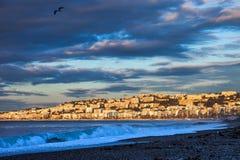 Skyline da cidade de agradável no nascer do sol em França Foto de Stock Royalty Free