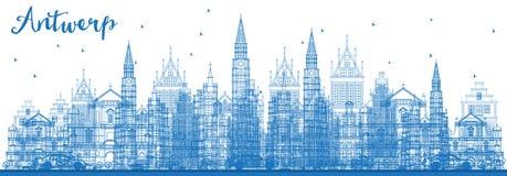 Skyline da cidade de Antuérpia Bélgica do esboço com construções azuis ilustração royalty free