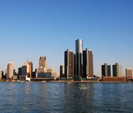Skyline da cidade de Detroit Fotos de Stock Royalty Free