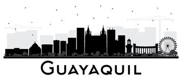 Skyline da cidade de Guayaquil Equador com as construções pretas isoladas sobre ilustração stock