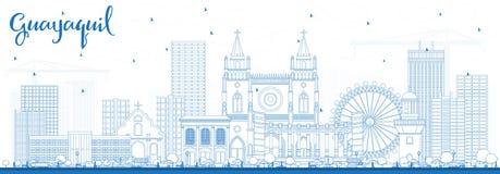 Skyline da cidade de Guayaquil Equador do esboço com construções azuis ilustração do vetor