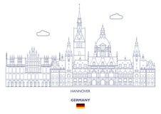 Skyline da cidade de Hannover, Alemanha ilustração stock