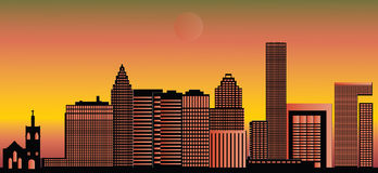 Skyline da cidade de Houston ilustração stock