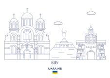 Skyline da cidade de Kiev, Ucrânia ilustração do vetor