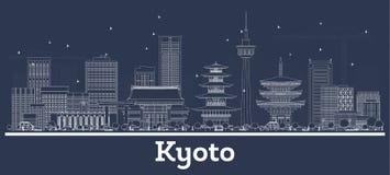 Skyline da cidade de Kyoto Jap?o do esbo?o com constru??es brancas ilustração royalty free