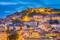 Skyline da cidade de Lisboa, Portugal fotografia de stock