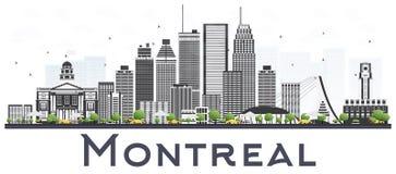 Skyline da cidade de Montreal Canadá com Gray Buildings Isolated em Whi Imagem de Stock