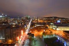 Skyline da cidade de Montreal no por do sol, Quebeque, Canadá imagem de stock