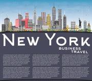 Skyline da cidade de New York EUA com Gray Skyscrapers, o céu azul e o Co ilustração do vetor