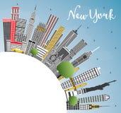 Skyline da cidade de New York EUA com Gray Skyscrapers, o céu azul e o Co ilustração stock