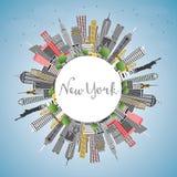 Skyline da cidade de New York EUA com Gray Skyscrapers, o céu azul e o Co ilustração royalty free