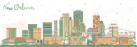 Skyline da cidade de Nova Orleães Louisiana com construções da cor ilustração royalty free