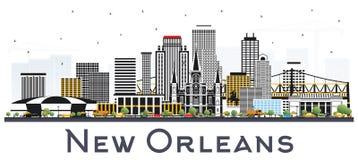 Skyline da cidade de Nova Orleães Louisiana com Gray Buildings Isolated ilustração stock