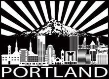 A skyline da cidade de Portland e a montagem Hood Black White vector a ilustração ilustração royalty free