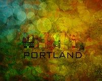 Skyline da cidade de Portland na ilustração do fundo do Grunge Fotografia de Stock