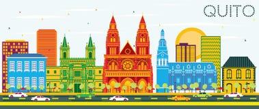 Skyline da cidade de Quito Equador com construções da cor e o céu azul ilustração do vetor
