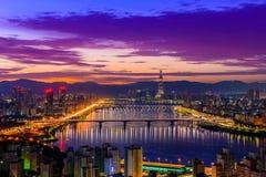 Skyline da cidade de Seoul Imagem de Stock