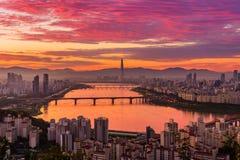 Skyline da cidade de Seoul Imagem de Stock Royalty Free