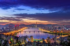 Skyline da cidade de Seoul Fotografia de Stock Royalty Free