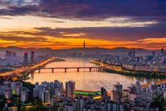 Skyline da cidade de Seoul Fotografia de Stock