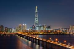 Skyline da cidade de Seoul, Coreia do Sul imagens de stock royalty free