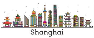 Skyline da cidade de Shanghai China do esboço com construções modernas Isolat Imagem de Stock Royalty Free