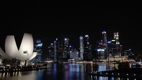 Skyline da cidade de Singapore na noite imagem de stock royalty free