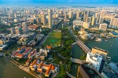Skyline da cidade de Singapura no por do sol. Imagem de Stock