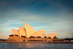 Skyline da cidade de Sydney no por do sol Fotos de Stock Royalty Free