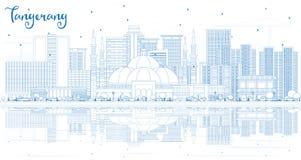 Skyline da cidade de Tangerang Indonésia do esboço com construções azuis e ilustração royalty free