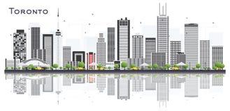 Skyline da cidade de Toronto Canadá com construções e reflexões da cor ilustração stock