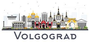 Skyline da cidade de Volgograd Rússia com as construções da cor isoladas em W Foto de Stock