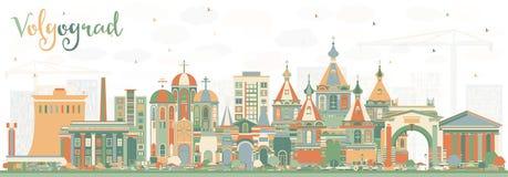 Skyline da cidade de Volgograd Rússia com construções da cor Fotografia de Stock Royalty Free